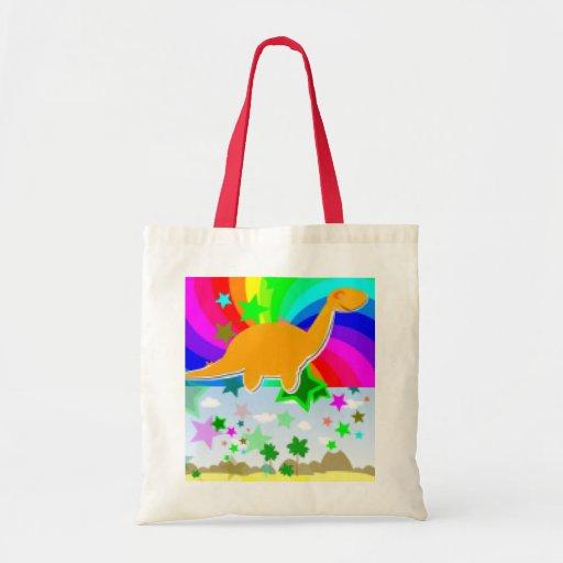 Diplodocus Pixel Dinosaur Tote Bags