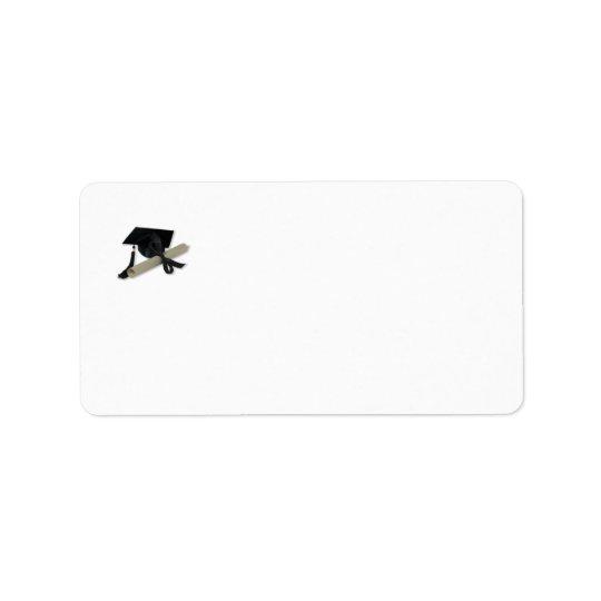 Diploma and Graduation Cap ( Mortar Board ) Label