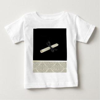 Diploma on Black with Damask Design Trim Baby T-Shirt