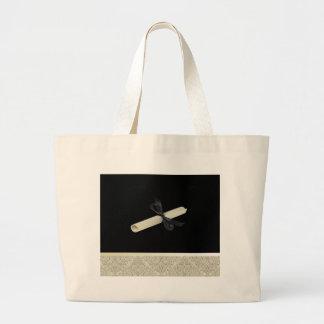 Diploma on Black with Damask Design Trim Large Tote Bag