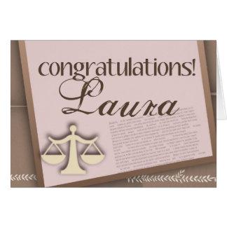 Diplômé d'école de droit de félicitations carte de vœux