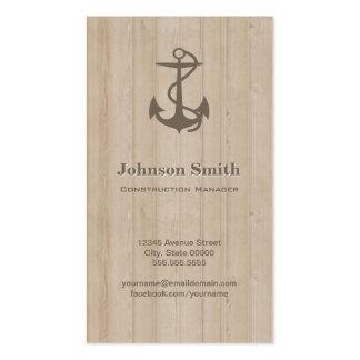 Directeur de construction - bois nautique d'ancre carte de visite standard
