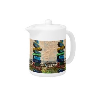 """""""Direction Marker on Kelley's Island"""" Small Teapot"""