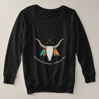 Directional Insanity Bull Horns French Terry Plus Size Sweatshirt