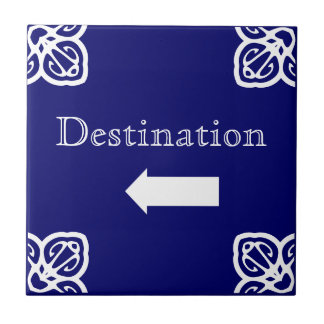 Directional sign - Spanish blue on white Tile