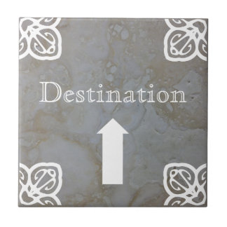Directional sign - Spanish white on travertine Tile