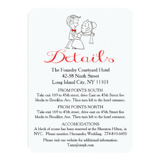 "Directions Bride & Groom Black And White Wedding 4.5"" X 6.25"" Invitation Card"