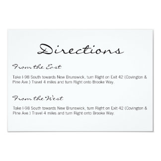 "Directions Card | Basic-white 3.5"" X 5"" Invitation Card"
