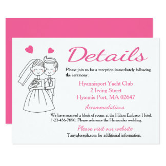 "Directions / Details Pink Bride & Groom Wedding 4.5"" X 6.25"" Invitation Card"