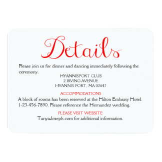 "Directions / Details Red And White Wedding Party 4.5"" X 6.25"" Invitation Card"