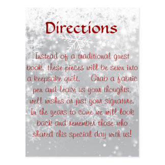 Directions for quilt questbook postcard