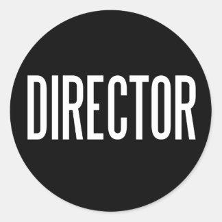 Director glossy round sticker (black)