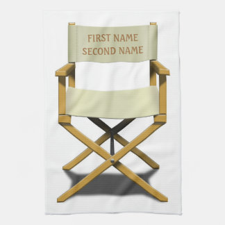 Directors chair design with your choice of name kitchen towel