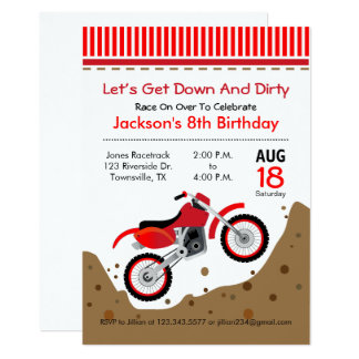 Dirt Bike Birthday Party Invitation in red