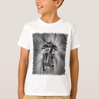Dirt Bike Blasting Thru Black/White T-Shirt