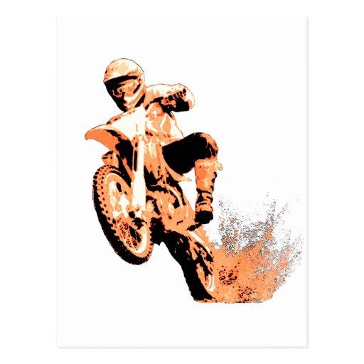 Dirt Bike Blasting Thru (Orange) Postcards