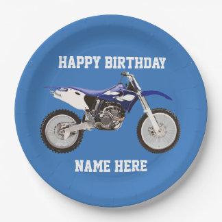 Dirt Bike Blue Birthday Sport Paper Plates 9 Inch Paper Plate