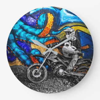 Dirt Bike Graffiti Urban Street Art Large Clock