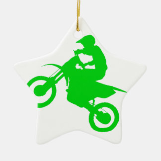 DIRT BIKE (green) Ceramic Star Ornament