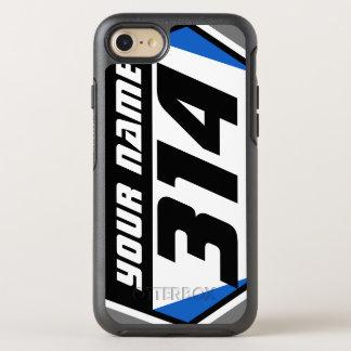 Dirt Bike MX Racing Number - Blue - Black Number OtterBox Symmetry iPhone 7 Case
