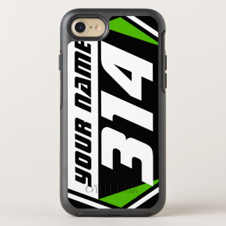 Dirt Bike MX Racing Number - Green - White Number OtterBox Symmetry iPhone 7 Case