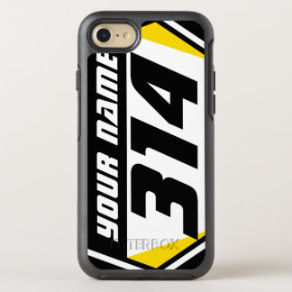 Dirt Bike MX Racing Number - Yellow - Black Number OtterBox Symmetry iPhone 7 Case