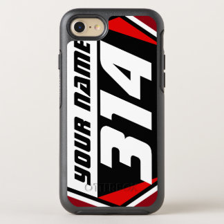 Dirt Bike Number Plate - Red - White Number OtterBox Symmetry iPhone 7 Case