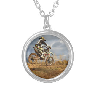 Dirt Bike Ride Silver Plated Necklace