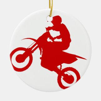 DIRT BIKE (scarlet) Round Ceramic Ornament