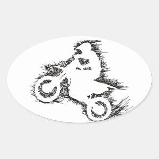 DIRT BIKE (scribble black) Oval Sticker