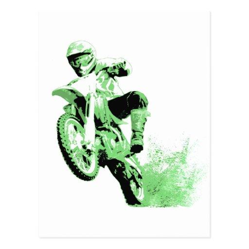Dirt Bike Wheeling in Mud (Green) Post Cards