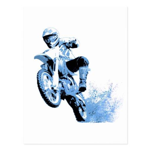 Dirt Bike Wheeling in the mud (Blue) Post Card