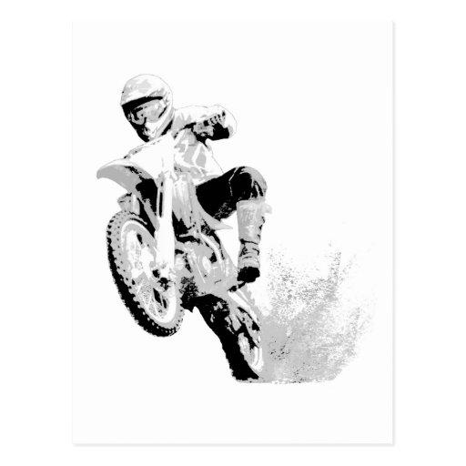 Dirt Bike Wheeling in the Mud Post Cards