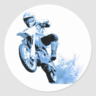 Dirt Biking wheeling in the Mud in Blue Classic Round Sticker
