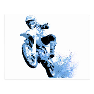 Dirt Biking wheeling in the Mud in Blue Postcard