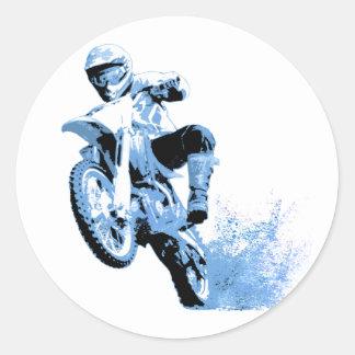 Dirt Biking wheeling in the Mud in Blue Round Stickers