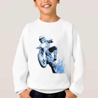 Dirt Biking wheeling in the Mud in Blue Sweatshirt