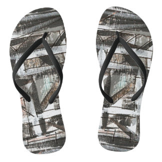 Dirt Road-Hand Painted Abstract Brushstrokes Flip Flops