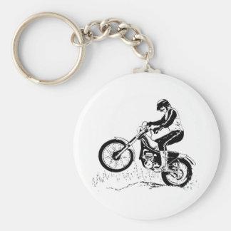 Dirtbike Rider Black Graphic Silhouette Basic Round Button Keychain