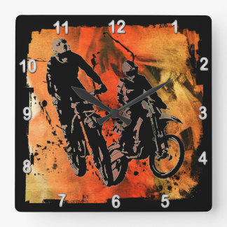 Dirtbiker Duo Red and Orange Grunge Square Wall Clock