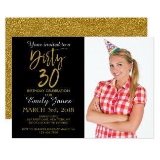 Dirty 30 Gold Foil Birthday Invitation