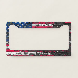 Dirty American Flag License Plate Frame