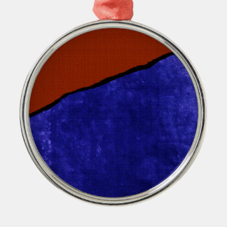 Dirty blue and orange rip Silver-Colored round ornament