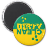 Dirty/Clean Dishwasher Magnet Green and Yellow