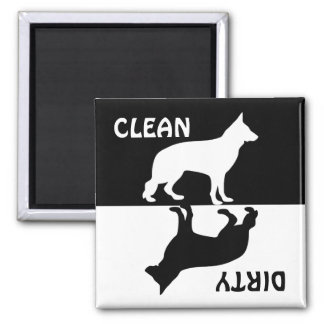 Dirty Clean German Shepherd dog dishwasher magnet