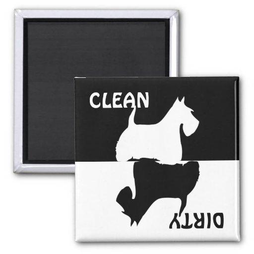 Dirty Clean Scottish Terrier dog dishwasher magnet