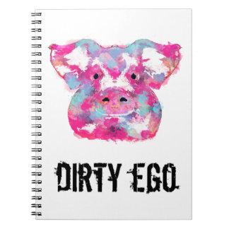 Dirty Ego Big pink pig dirty ego spiral notebook