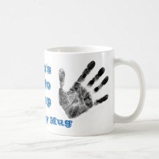 Dirty handprint mug,  mechanic,forensics,newspaper coffee mug
