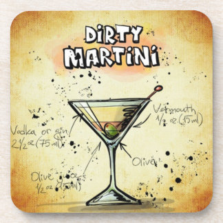 Dirty Martini Bartender Drink Recipe Coaster