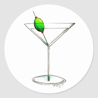 Dirty Martini w/ Olive Cocktail Glass Stickers